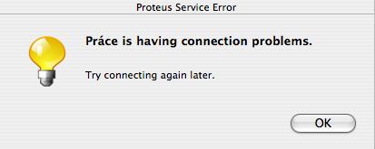 Práce is having connection problem.