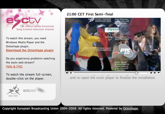 Živé vysílání Eurovize 2008